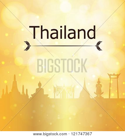 Thailand Travel Landmarks Gold Vector And Illustration