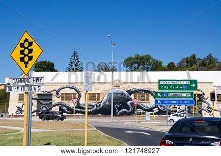 FREMANTLE,WA,AUSTRALIA-MARCH 12,2016: Octopus Mural by British artist
