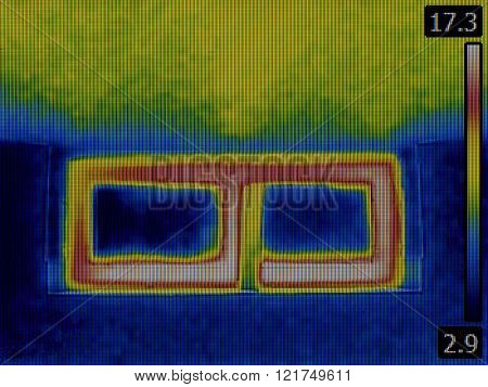 Thermal Image of a Heat Loss from Basement Window