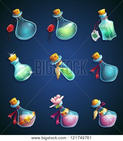Set Alchemical Cartoon Bottles