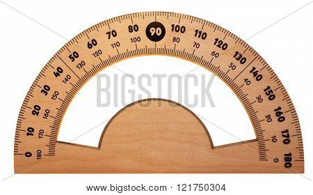 Wooden Protractor Isolated