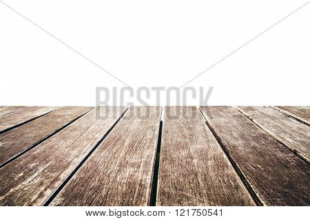 Old wooden pier with copy space, isolated on white background