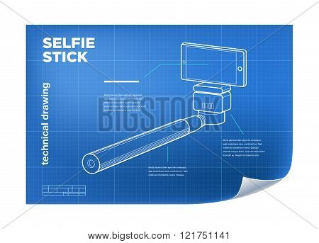 Technical Illustration With Vector Isometric Line Selfie Stick Drawing On The Blueprint.