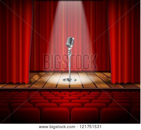 Microphone and red curtain