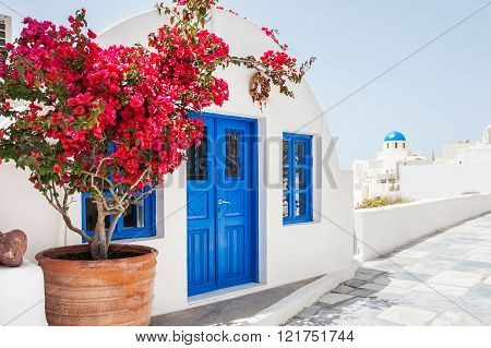 White Architecture On Santorini Island, Greece.