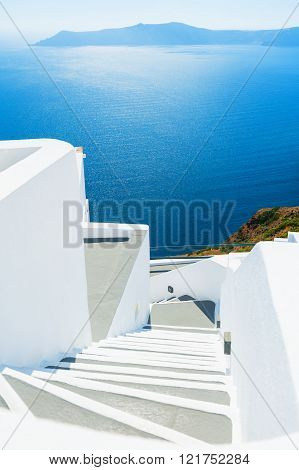 Stairs To The Sea. Santorini Island, Greece