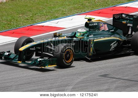 KUALA LUMPUR - APRIL 3: Lotus' driver Heiki Kovalainen sees action on practice day at the 2010 Petronas Malaysia Grand-Prix on April 3, 2010 in Sepang International Circuit, Malaysia.