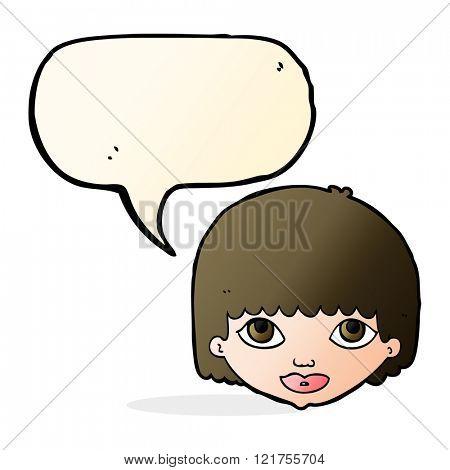 cartoon female face with speech bubble