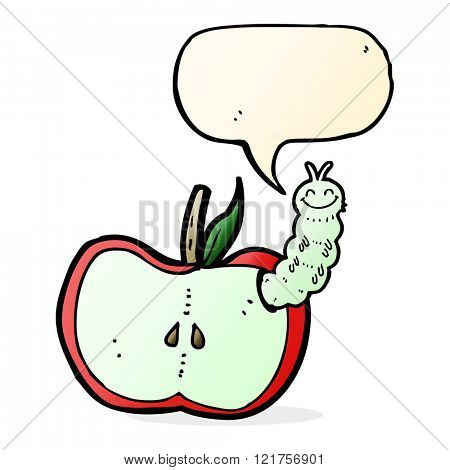cartoon apple with bug with speech bubble