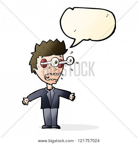 cartoon staring man with speech bubble