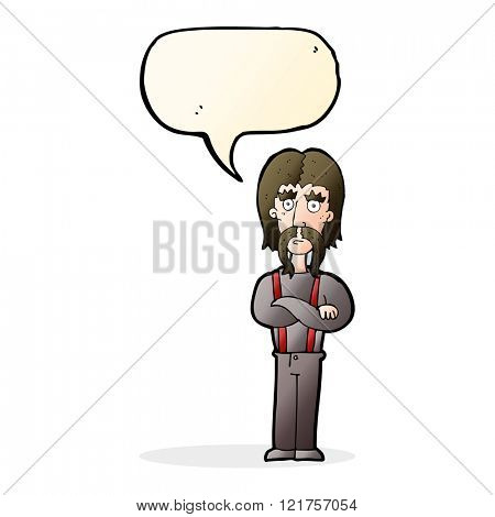 cartoon long mustache man with folded arms with speech bubble