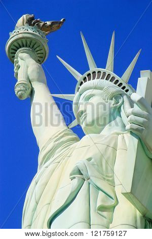 LAS VEGAS USA - MARCH 19: Replica of Statue of Liberty at New York - New York hotel and casino on March 19 2013 in Las Vegas USA. Las Vegas is one of the top tourist destinations in the world.