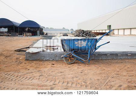 The Old Wheelbarrow  In Construction Area Thailand