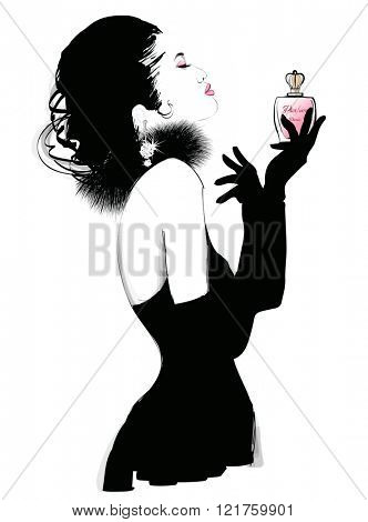 Young pretty woman advertising for perfume - Vector illustration