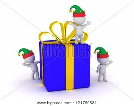 3D Wrapped Gift Box And Several Small 3D Characters With Elf Hats