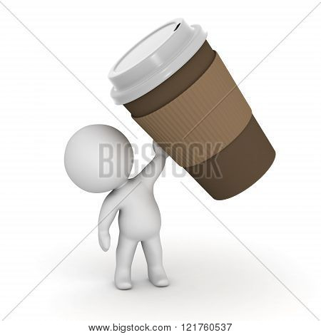 3D Character Holding Large Coffee Cup