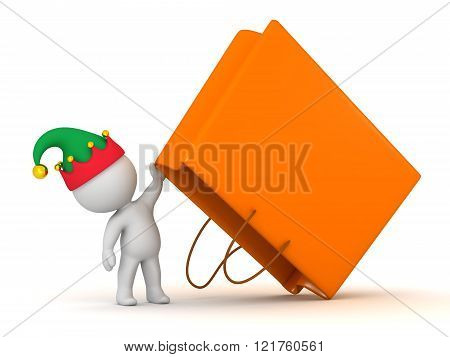 3D Character With Elf Hat Holding Up Large Gift Bag