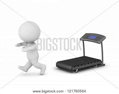 3D Character Running Away From Exercise Machine