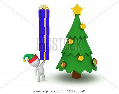 3D Character With Elf Hat Holding Stack Of Wrapped Gift Boxes