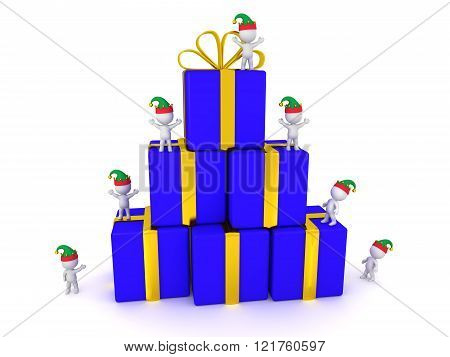 3D Characters With Elf Hats And Stack Of Wrapped Gift Boxes