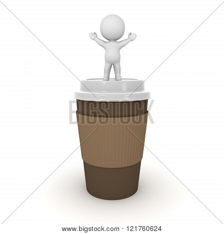 3D Character Standing With Arms Raised On Large Coffee Cup