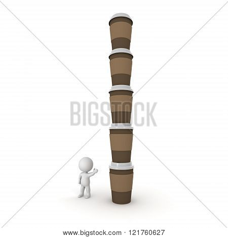 3D Character Showing Pile Of Coffee Cups