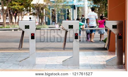 Electronic Turnstiles In Front Of Amusment Park