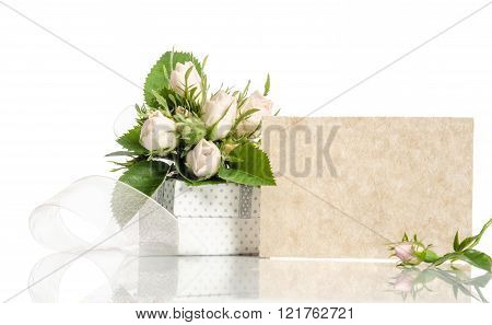 Gift Box And White Roses With Empty Card For You Text On White Background