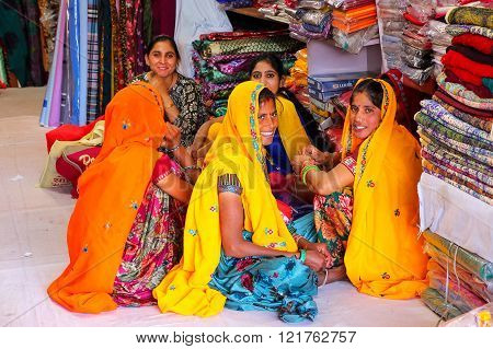 Jaipur, India - November 15: Unidentified Women Sit In A Store On November 15, 2014 In Jaipur, India