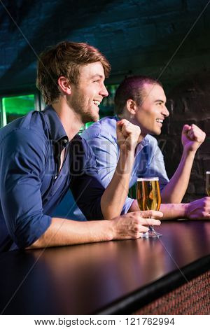 Two happy men raising their fist while having beer at bar counter in bar