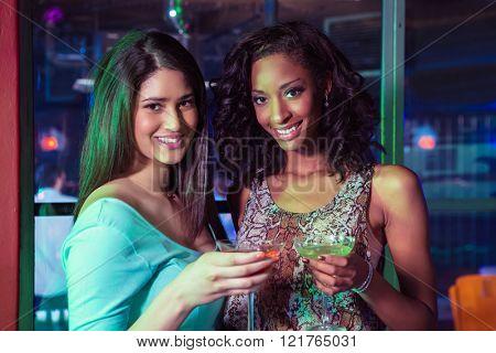 Portrait of two women having cocktail in bar