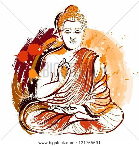 Buddha. Hand drawn grunge style art. Colorful retro vector illustration. Banner, greeting card, t-shirt, bag, print, poster.