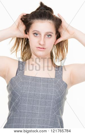Portrait Of  Beautiful Teenager Girl - Isolated On White