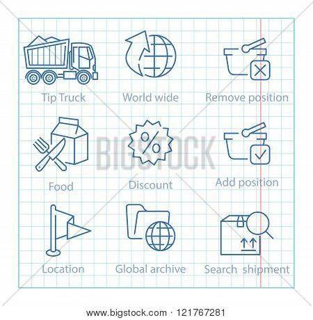 Vector Thin Line Icons Set