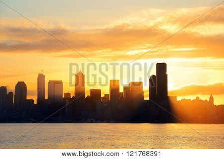 Seattle sunrise with downtown building silhouette