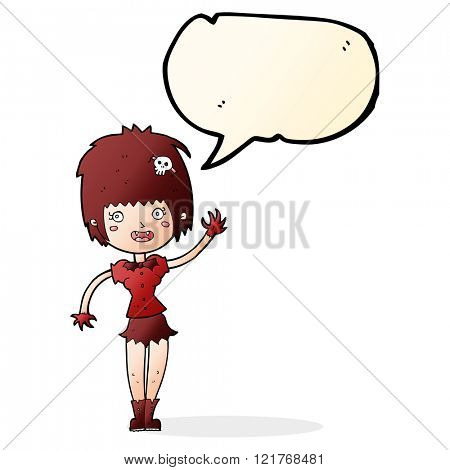 cartoon waving vampire girl with speech bubble