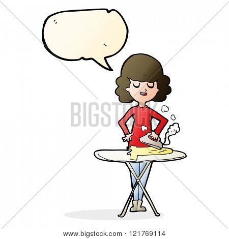 cartoon woman ironing with speech bubble