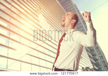 happy man and building background