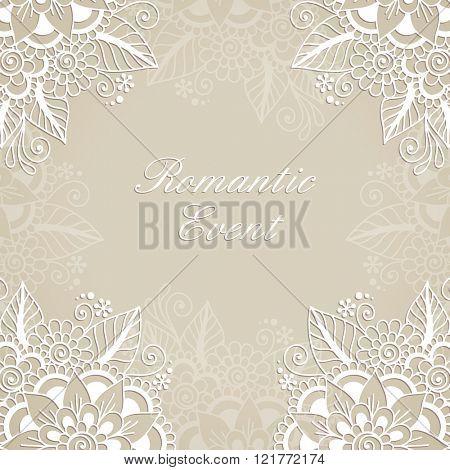 Flower vector ornament frame. White flower frame, lace ornament