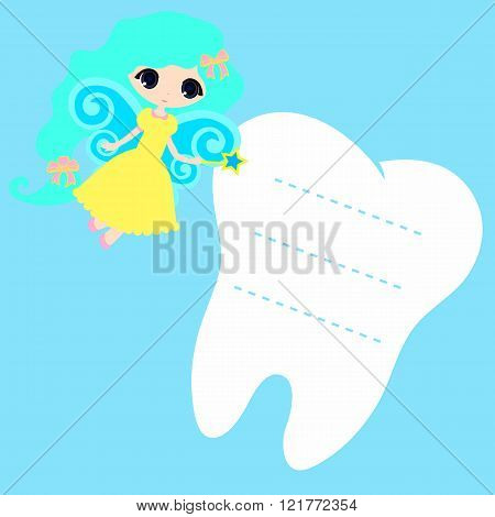 Cute cartoon Fairy smiling Princess Card little happy Tooth Fairy white on a blue background teeth vector icon illustration first tooth logo
