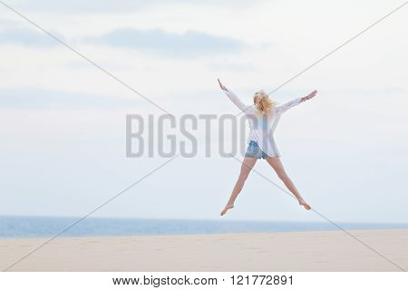 Carefree woman enjoying freedom.