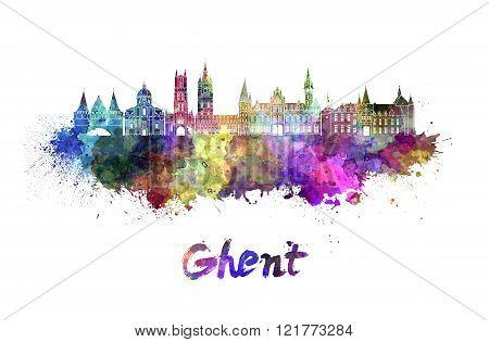 Ghent Skyline In Watercolor