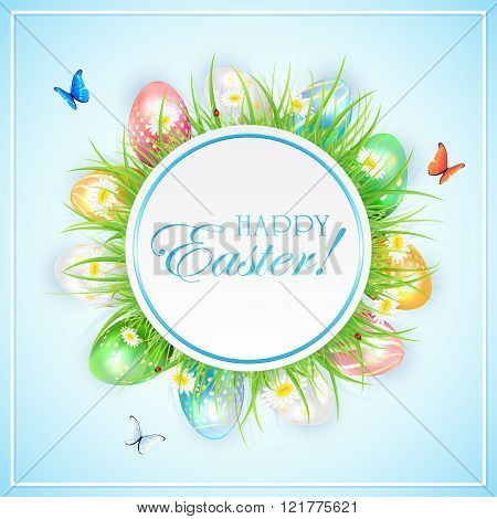 Easter Banner With Colorful Eggs In Grass And Butterflies