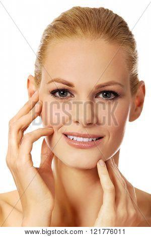 Portrait of beautiful topless caucasian woman