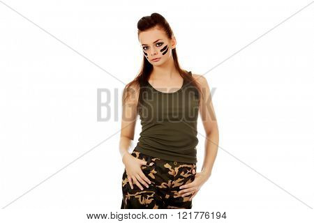 Young brunette soldier serious woman