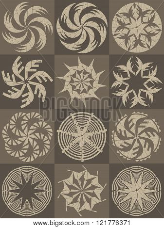set of decorative whirly texture design illustration