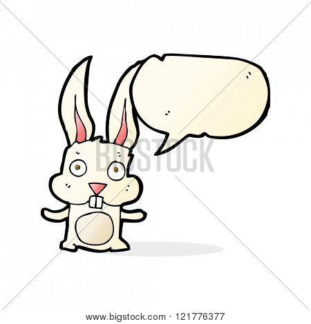 cartoon rabbit with speech bubble