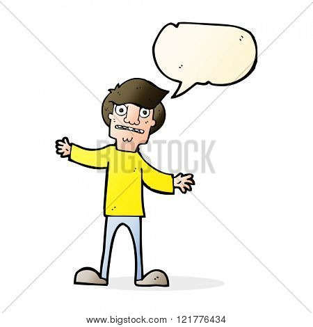 cartoon surprised man with speech bubble
