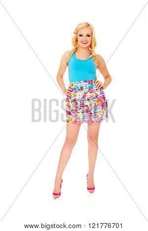 Happy summer woman in colorful skirt