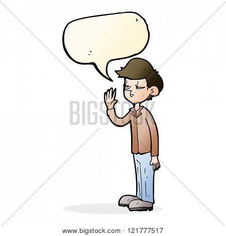 cartoon arrogant boy with speech bubble